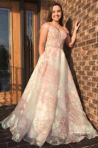 Luxury Off the Shoulder Sweetheart Pink Lace Appliques Prom Dress with XHLPST20424