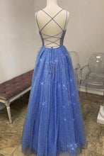 Load image into Gallery viewer, Sparkly A Line Spaghetti Straps Tulle Prom Dresses Beaded Long Evening XHLPST20472
