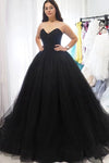 Sweetheart Tulle Ball Gown Black Formal Prom Dresses Sleeveless Lace up Evening Dresses XHLPST15442