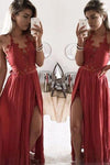 A Line Halter Lace Appliques V Neck Prom Dresses with Slit Evening XHLPST20454