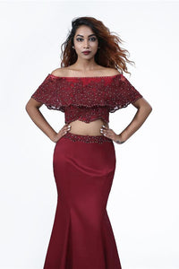 Elegant Mermaid Off the Shoulder Two Pieces Beades Burgundy Prom XHLPST20416