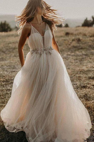 Spaghetti Straps Tulle Deep V-Neck Wedding Dresses Romantic Bohemian Beach Bridal Dress XHLPST15421