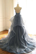 Load image into Gallery viewer, Spaghetti Straps Blue Gray Tulle V Neck Long Ruffles Prom Dresses with Lace Applique XHLPST15411