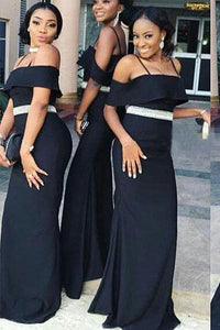 Charming Off the Shoulder Mermaid Dark Navy Blue Bridesmaid Dresses with XHLPST20457