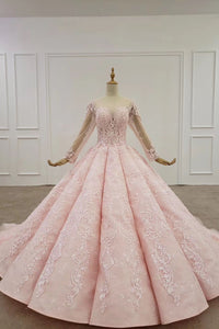 Elegant Ball Gown Pink Long Sleeves Appliques Prom Dresses Quinceanera XHLPST20482