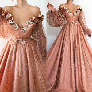 Stunning Long Sleeve Sexy Off the Shoulder Tulle Beading Prom Dresses V Neck Party Dresses XHLPST15436
