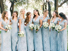 Load image into Gallery viewer, Mermaid Lace Baby Blue V Neck Bridesmaid Dresses for Wedding XHLPST20425
