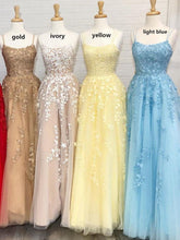 Load image into Gallery viewer, A Line Tulle Yellow Spaghetti Straps Prom Dresses with Appliques Party XHLPST20385