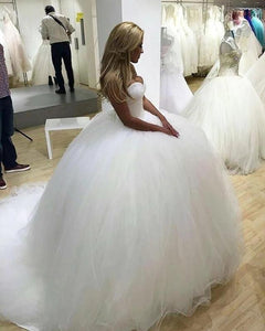 Sparkly Ball Gown Tulle Strapless Ivory Wedding Dresses Long Bridal Dresses XHLPST15429