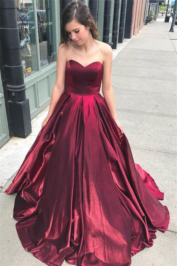 Unique A Line Burgundy Sweetheart Strapless Satin Prom Dresses Simple Party Dress XHLPST15602