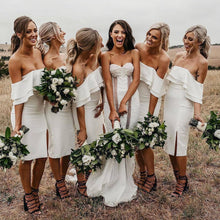 Load image into Gallery viewer, Simple Off the Shoulder White Short Bodycon Bridesmaid Dresses Prom XHLPST20487