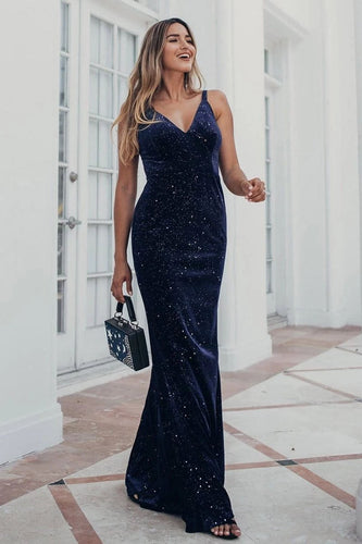 V-Neck Spaghetti Straps Velvet Dark Navy Blue Mermaid Evening Dress Prom Dresses XHLPST15480