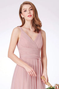 Simple A Line Pink V Neck Tulle Sleeveless Prom Dresses Long Bridesmaid Dresses XHLPST15383