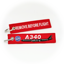 Keyring Airbus A340 / Remove Before Flight (black plane)