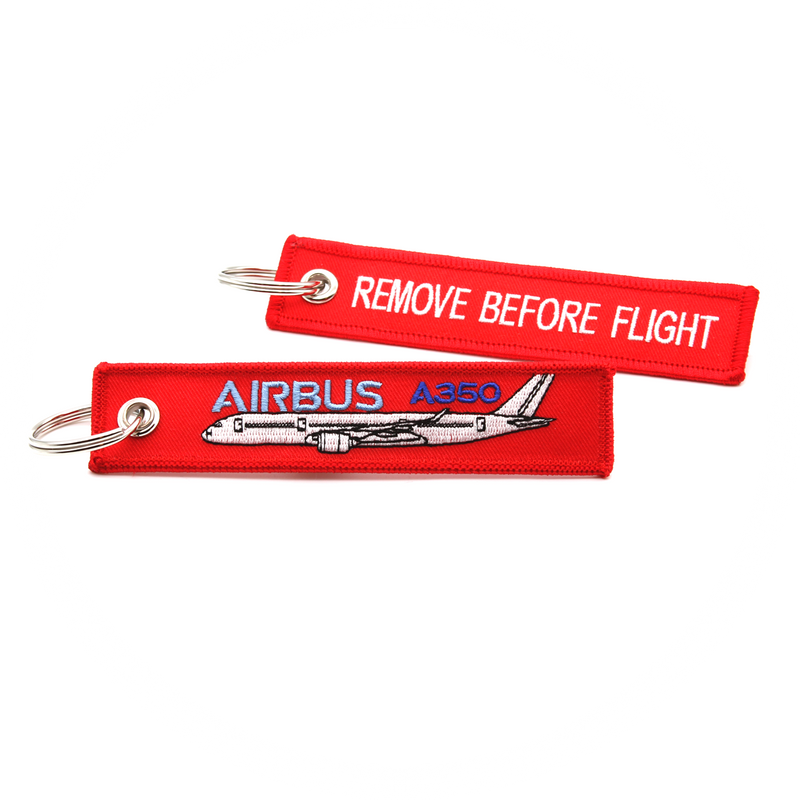 Keyring Airbus A350 / Remove Before Flight (red) Mark II