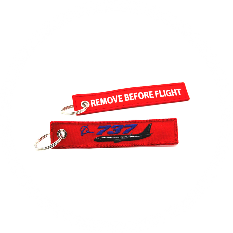 Keyring Boeing 737 / Remove Before Flight (black plane)