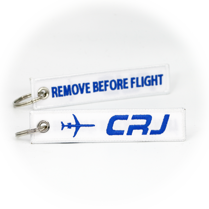 Keyring Bombardier Canadair Jet / Remove Before Flight (white)