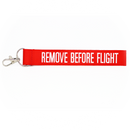 Keyring Remove Before Flight (carabiner hook, flag style)
