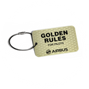 Airbus Golden Rules metal plate keyring (gold version)