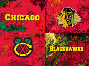 Chicago Blackhawks Logos by artist Richard Russell