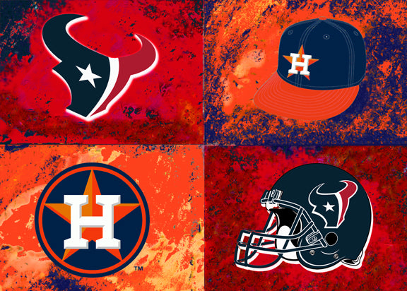 A House Divided - Texans / Astros by artist Richard Russell
