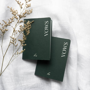 Green & White Vow Book set