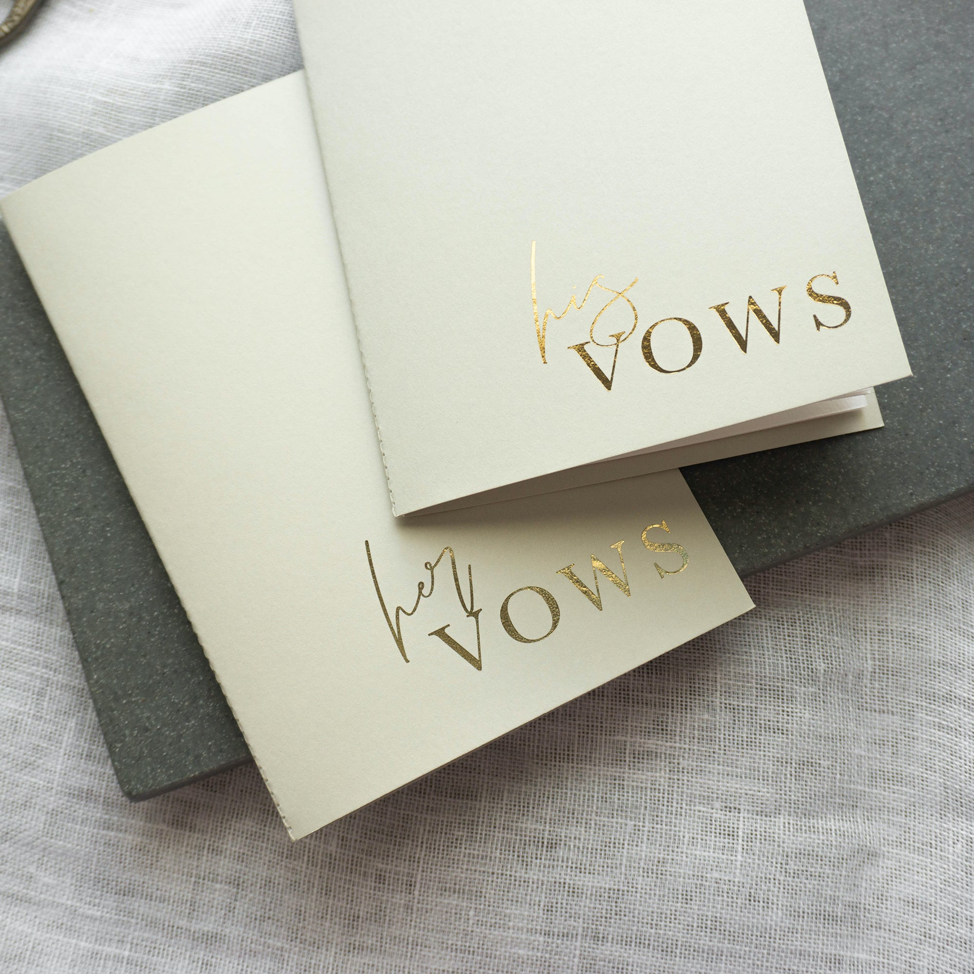 Grey & Gold Vow Book set