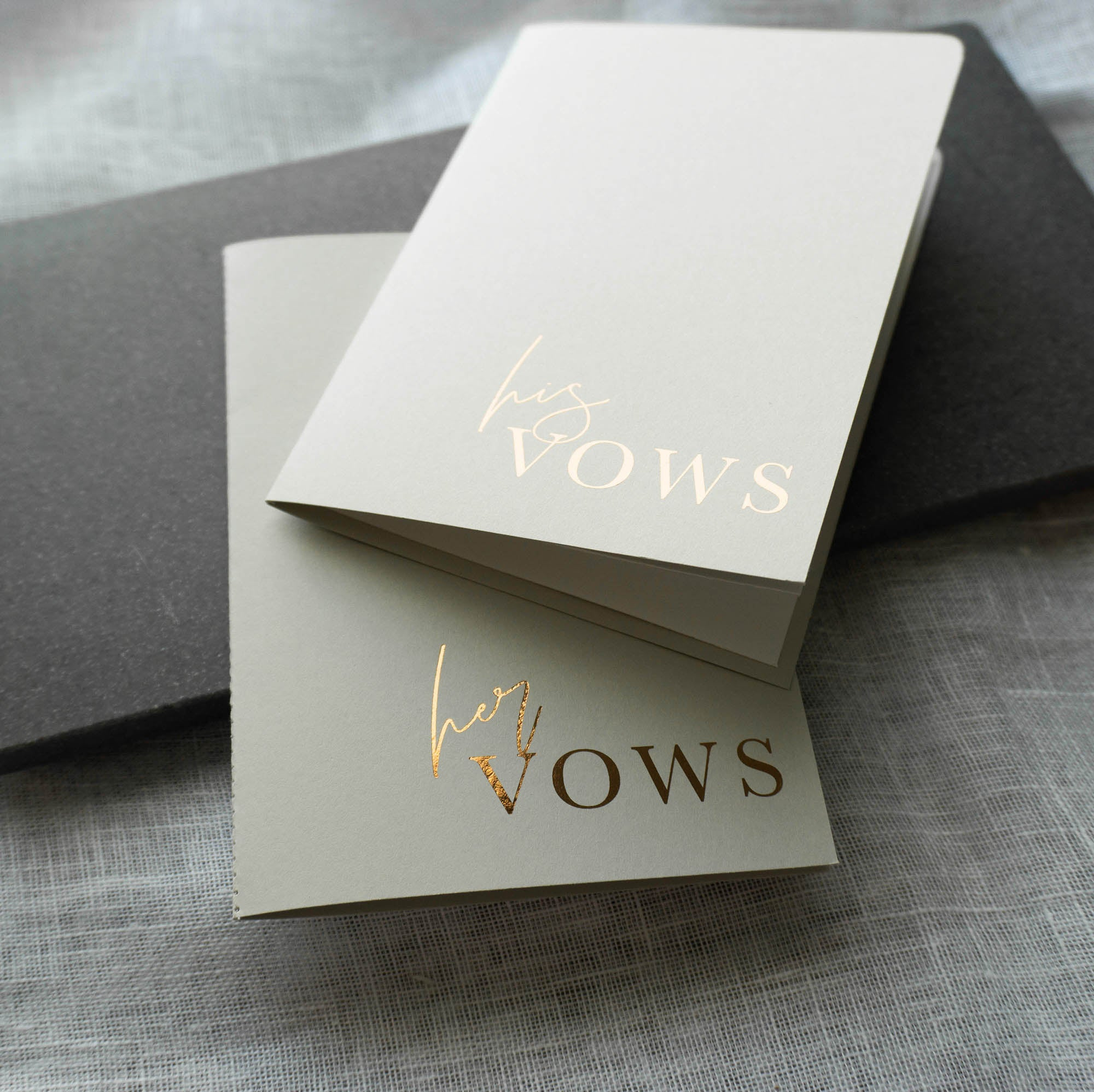 Grey & Rose Gold Vow Book set
