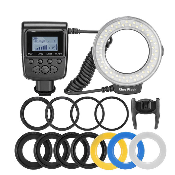 Macro LED Ring Flash Bundle with 8 Adapter Rings