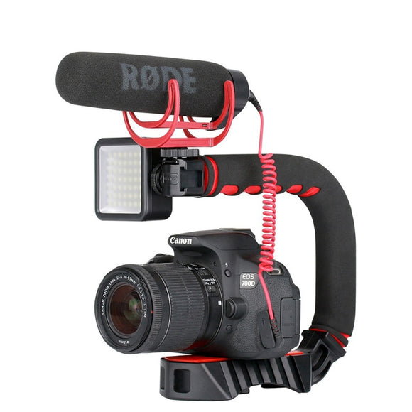 Triple Shoe Mount Video Stabilizer Handle Video Grip