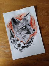 Load image into Gallery viewer, Original Fox watercolour and pen piece