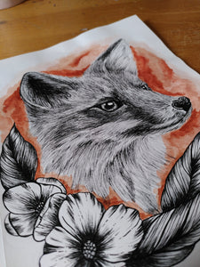 Original Fox watercolour and pen piece