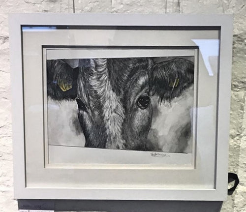 Original Framed Yellow Tag Cow unnumbered
