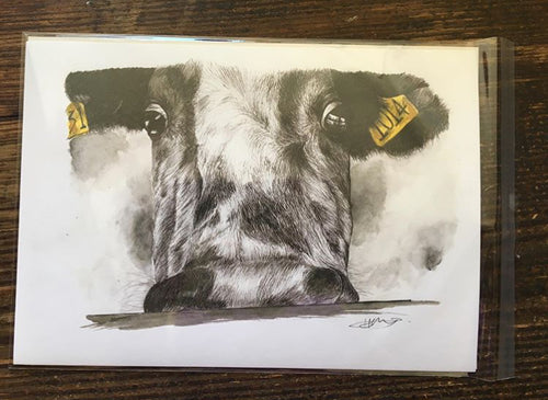 Yellow Tag Cow number 1014 Giclée Art Print