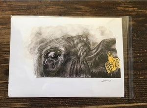 Yellow Tag Cow Number 101928 Giclée Art Print