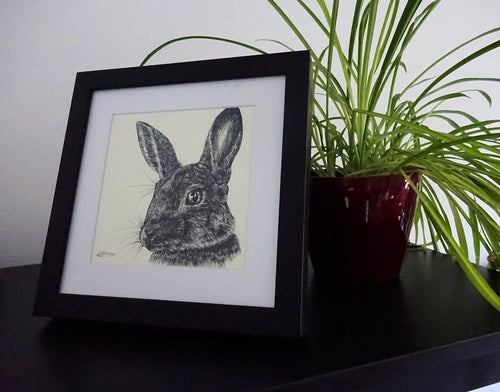 Original Framed Hunted Rabbit