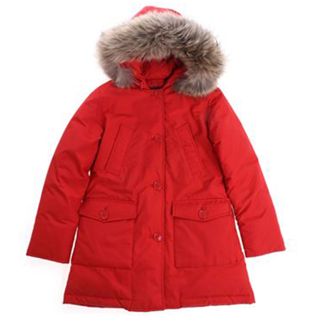 Woolrich giacca bambina parka df in tessuto Ramar idrorepellente rosso