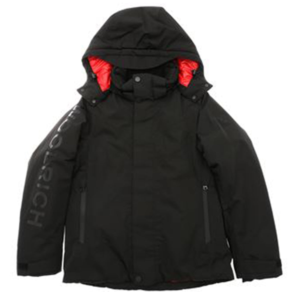 Children's ski jacket in black two-layer waterproof nylon tech