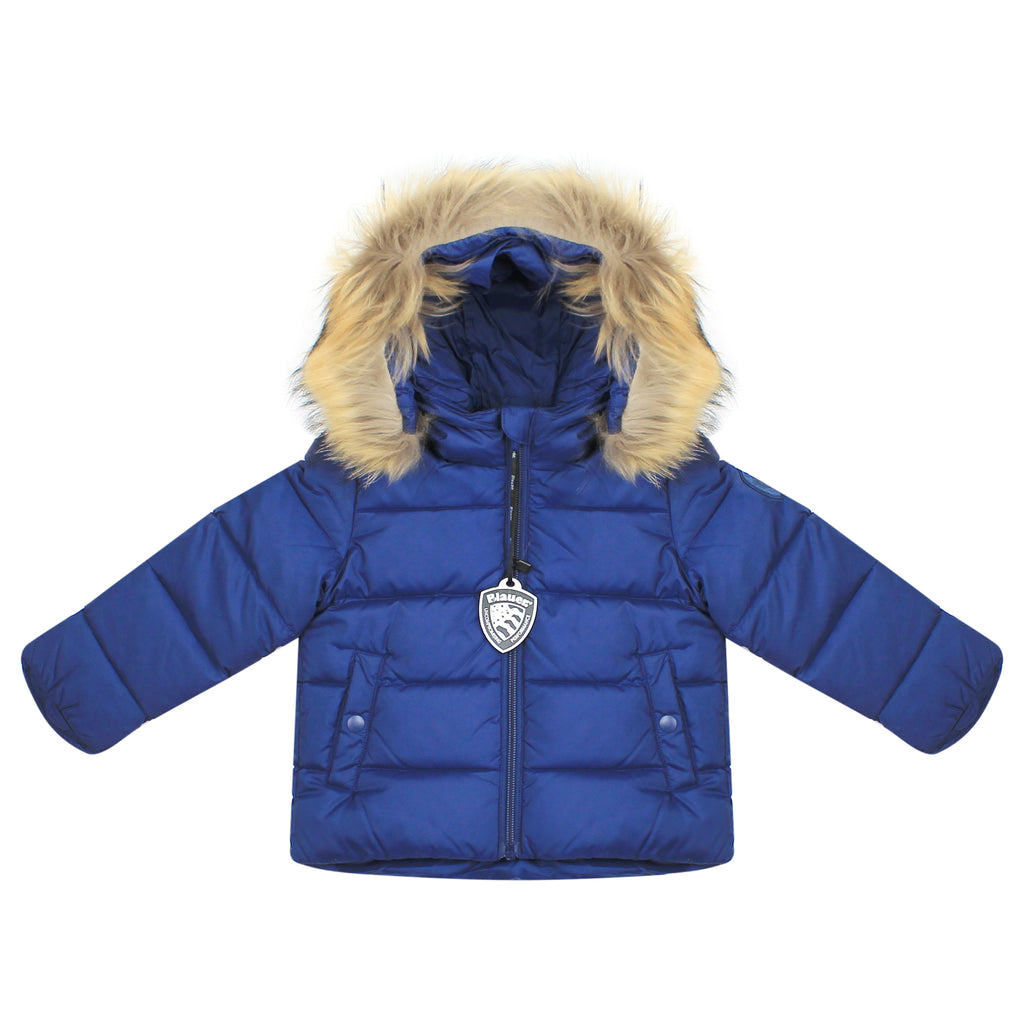 Baby boy hooded blue down jacket
