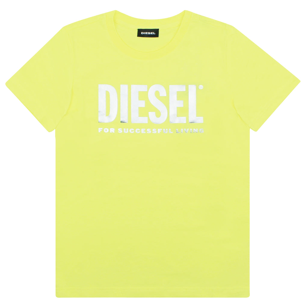 Diesel Kid T-shirt girl neon yellow in cotton jersey