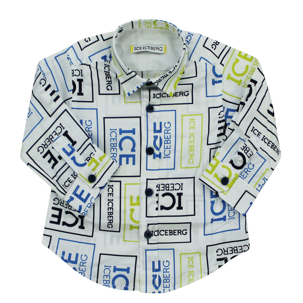 Ice Iceberg camicia baby boy stampa all over in cotone