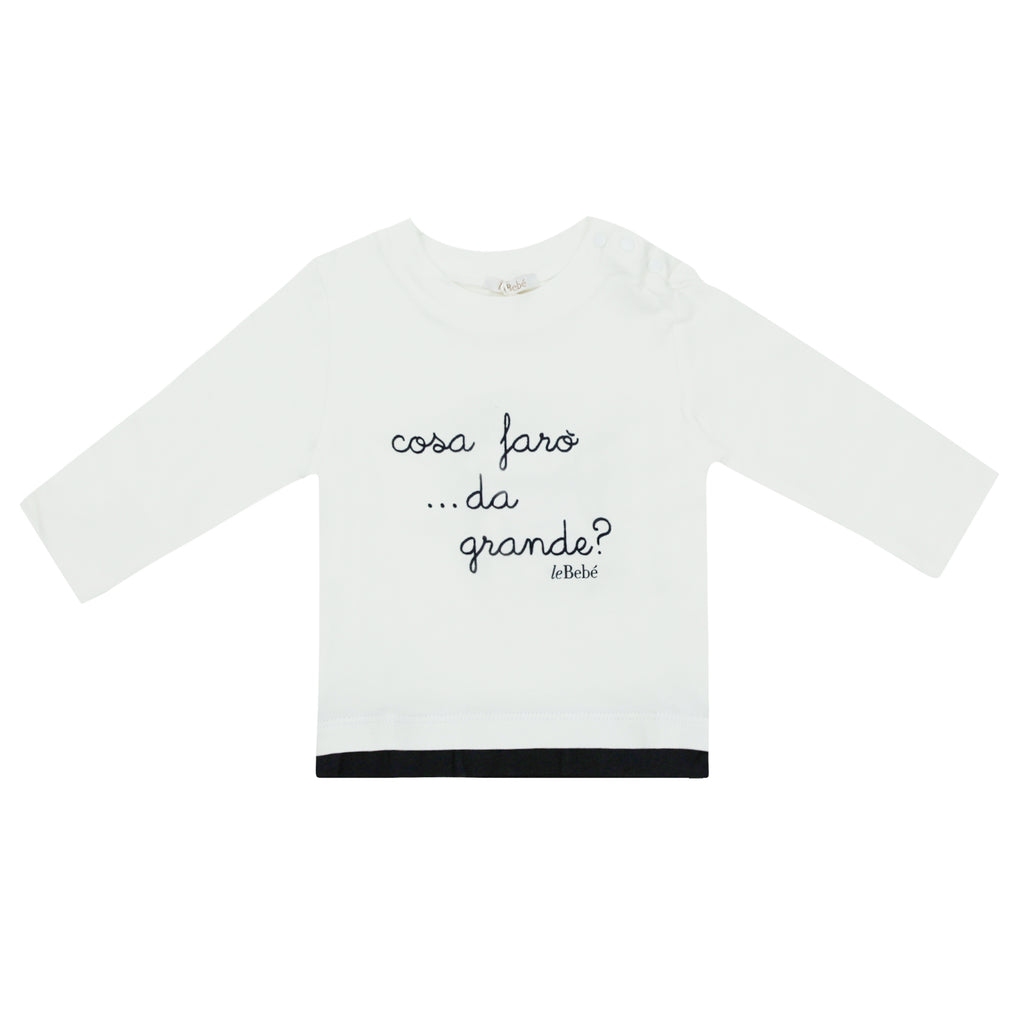 Le Bebe' Enfant t-shirt baby boy panna in cotone stretch