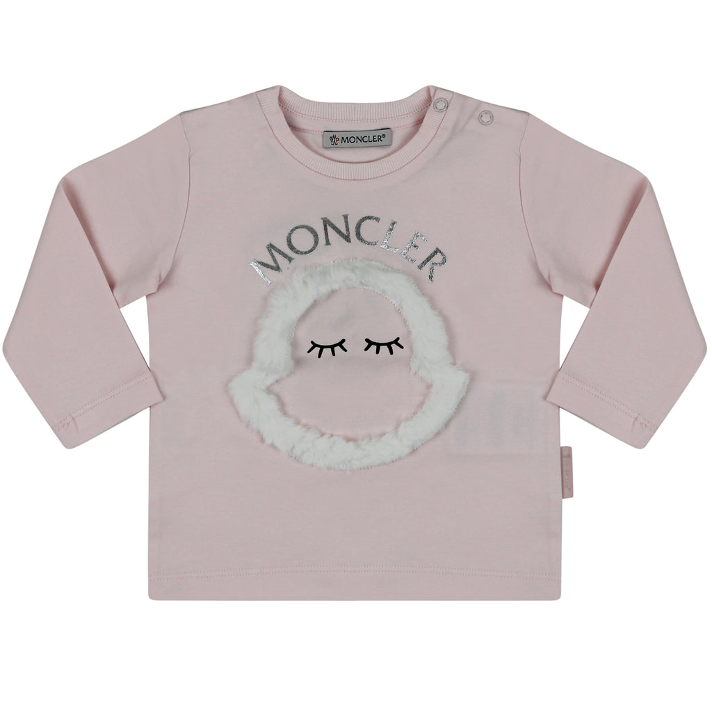 Moncler Enfant t-shirt baby girl in cotone rosa