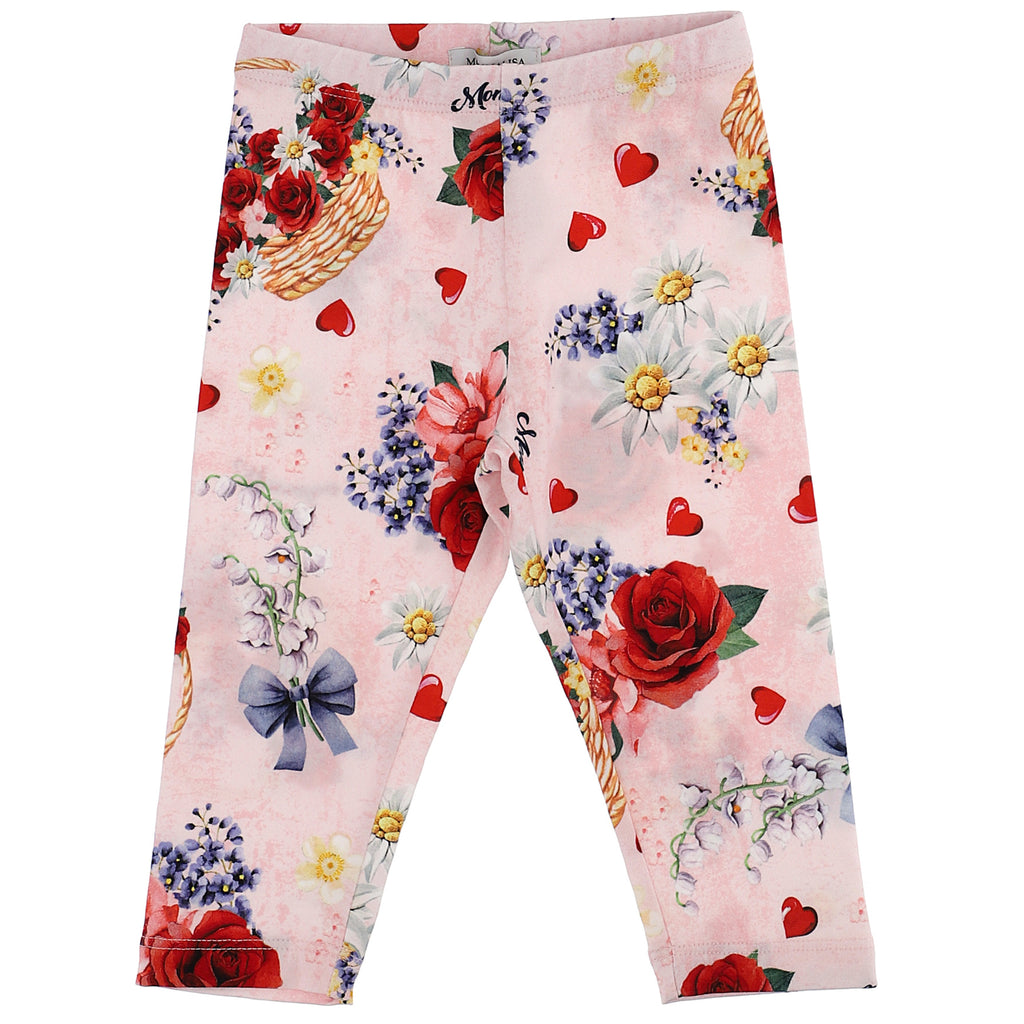 Monnalisa Leggings baby stampa all over in jersey di cotone