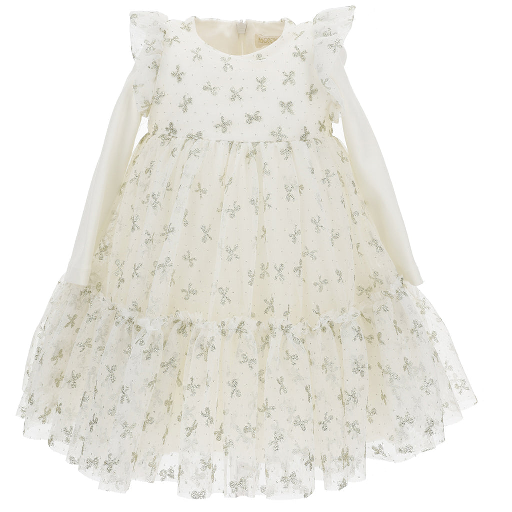 Monnalisa White baby dress in tulle ceremony