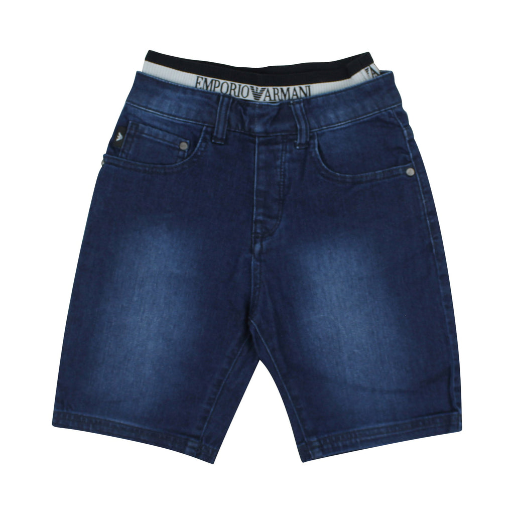 Short bambino denim con logo - ViaMonte Shop