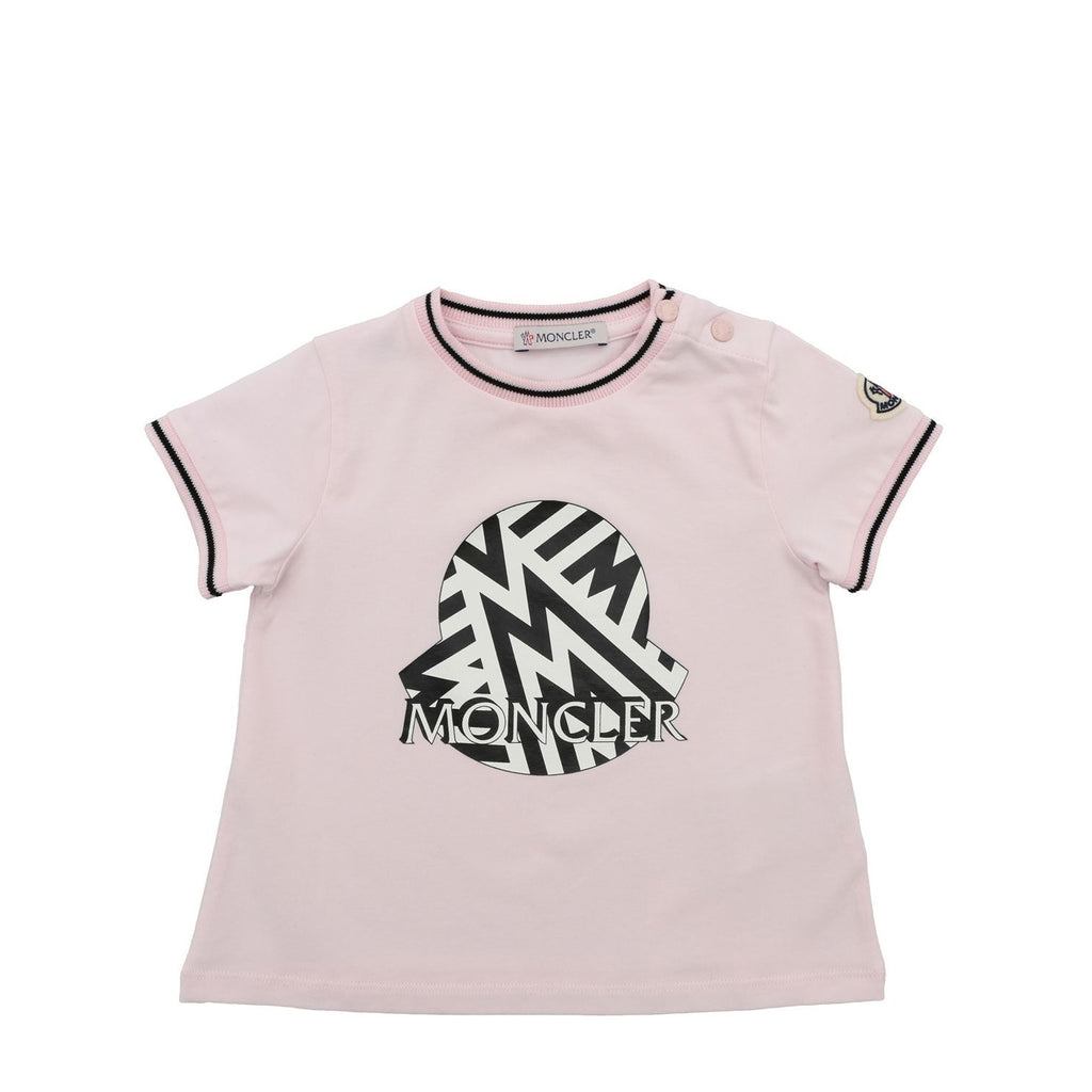 T-shirt baby in cotone rosa stampa logo