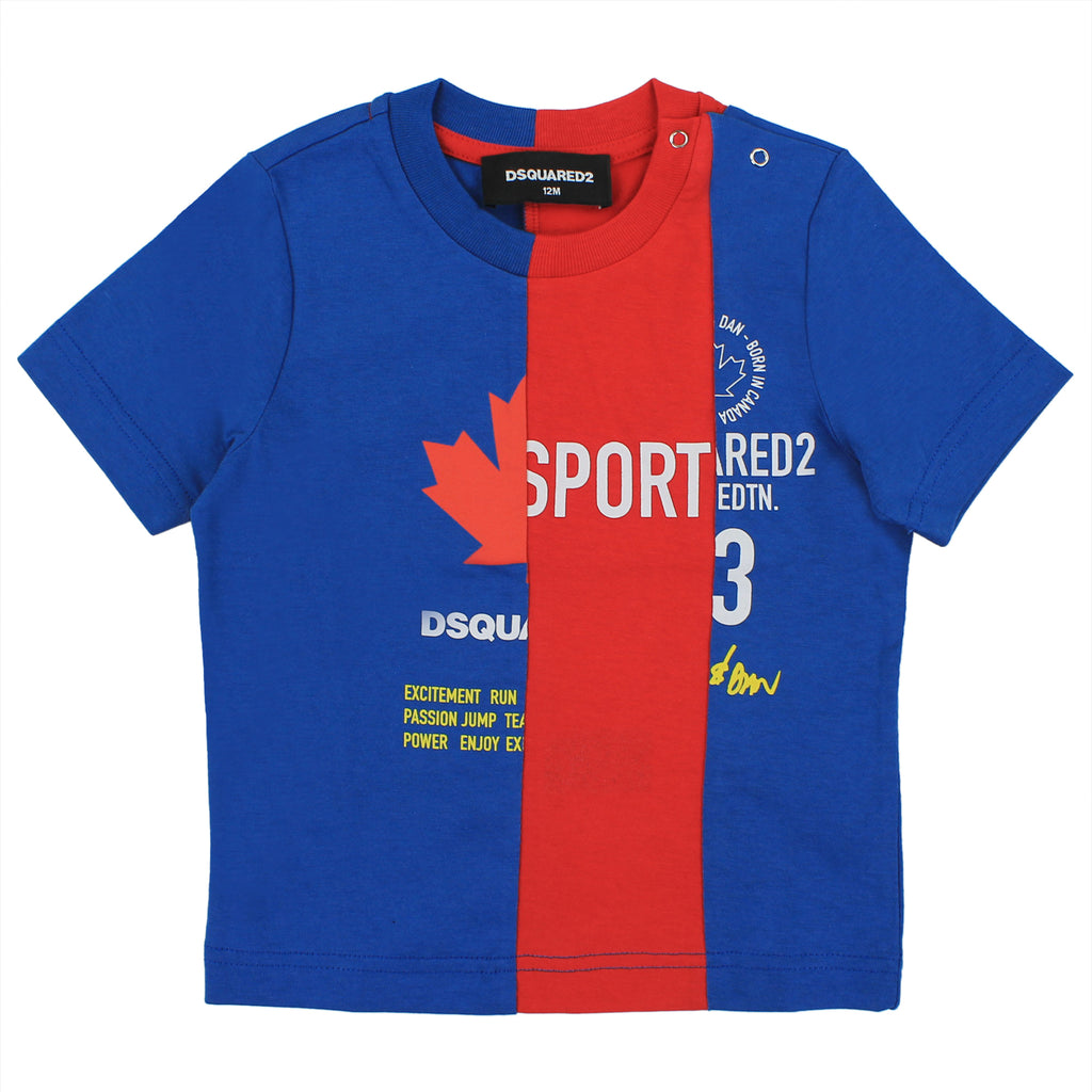 Dsquared2 t-shirt baby boy bicolor in jersey di cotone