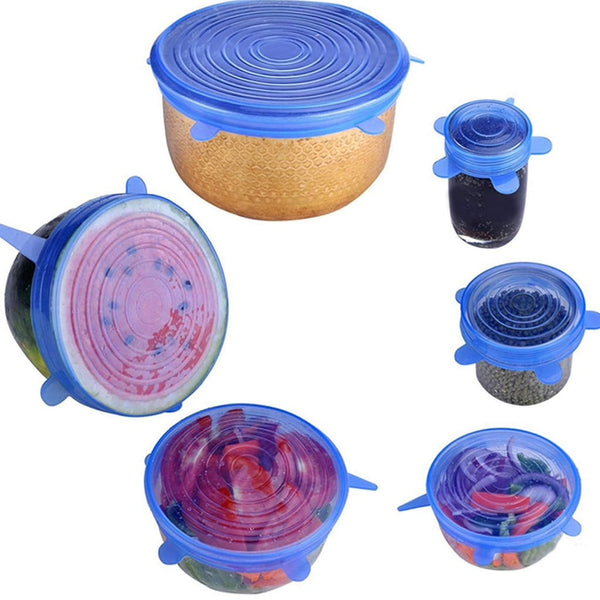 12pc Silicone Stretch Lids - Blue and Clear - Silicone Stretch Lids