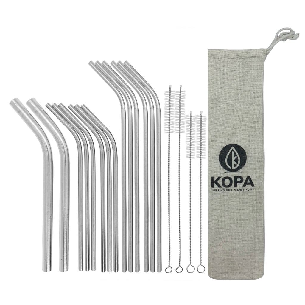 19pc Bent Stainless Steel Straw Set - Reusable Straws